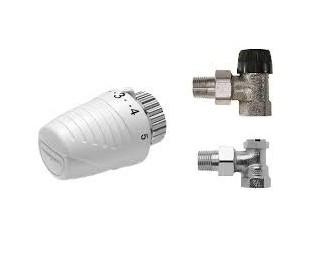 Set complet Honeywell pentru radiatoare: cap termostat, robinete tur şi retur